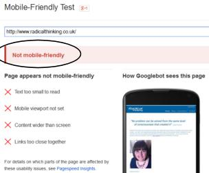 Google Mobile Test Tool - results for old Radical Thinking site